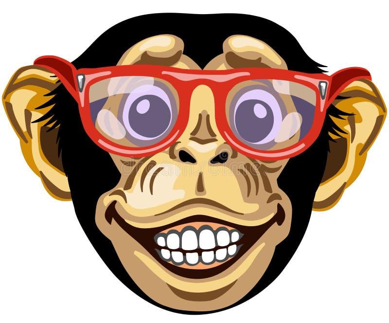 Tête de chimpanzé de bande dessinée avec des verres illustration stock