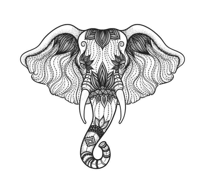 Tête de conception éléphant de boho de schéma Illustration de Dieu indien Ganesha Vec illustration stock