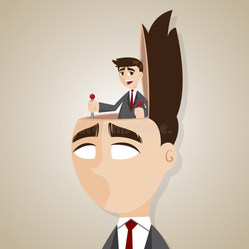 Tête de contrôle d'homme d'affaires de bande dessinée illustration de vecteur