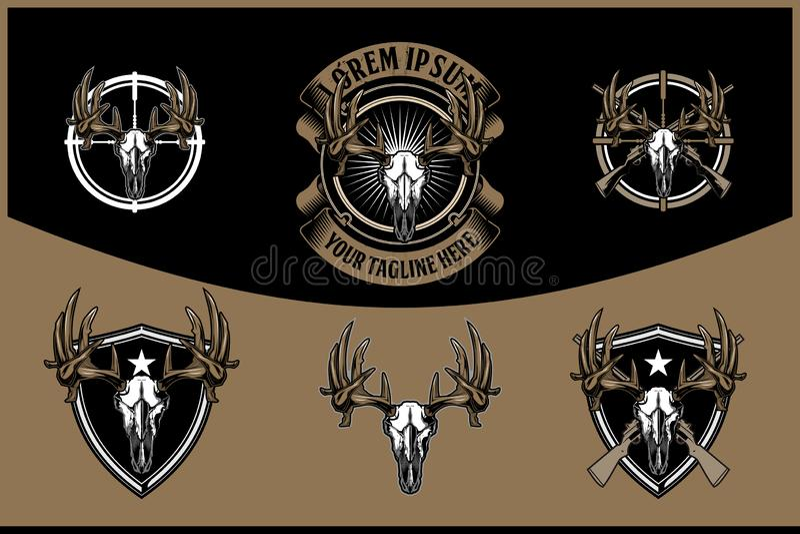 Tête de crâne de cerfs communs avec le rétro calibre de logo de fusil d'insigne croisé de vecteur pour le club de chasse illustration de vecteur
