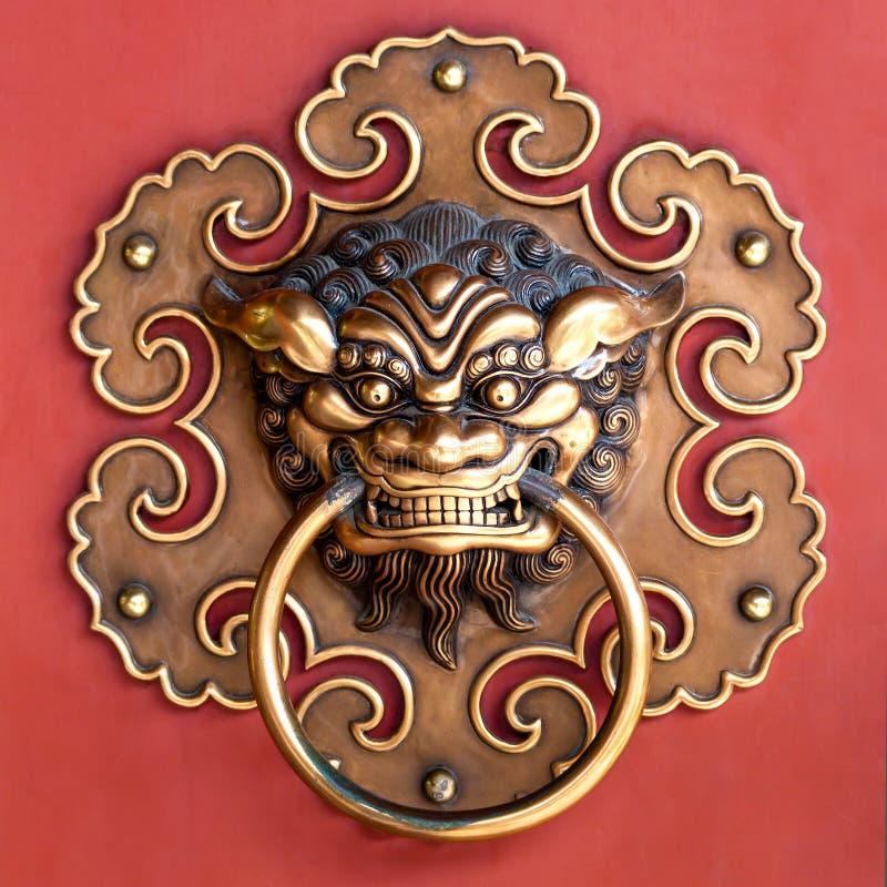 Tête de cuivre de lion photo stock