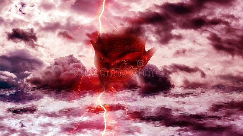 Tête de diable à l'enfer illustration de vecteur