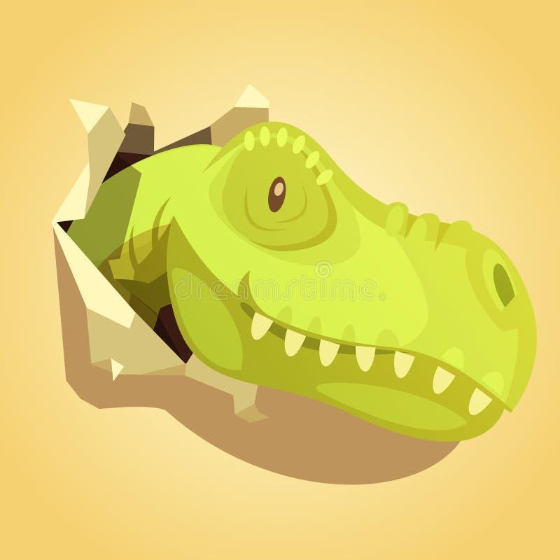 Tête de dinosaures sautant la copie de fond illustration libre de droits