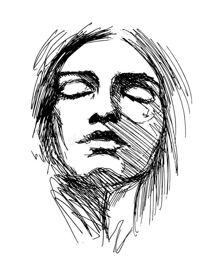 Tête de femme de croquis de main illustration de vecteur