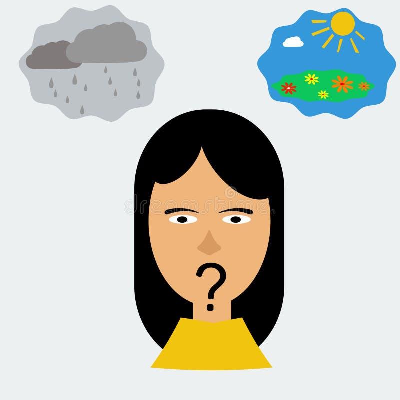 Tête de femme dans la dépression illustration stock