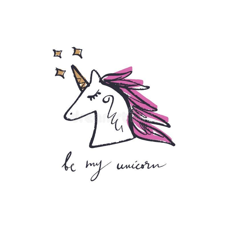 Tête de fille de licorne Citation de inscription tirée par la main des textes et petit art de poney illustration de vecteur