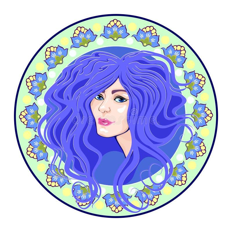 Tête de filles de camée, bleue illustration libre de droits