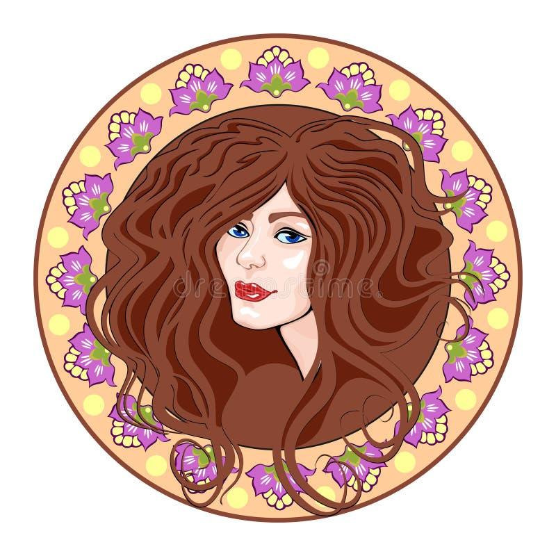 Tête de filles de camée, brune illustration stock