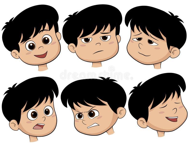 Tête de garçon de bande dessinée Ensemble de vecteur de différentes icônes d'émotions illustration libre de droits
