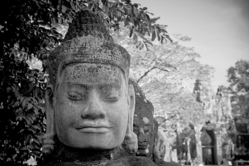 Tête de gardien de porte, Angkor, Cambodge photographie stock