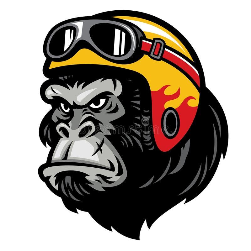 Tête de gorille portant le casque illustration de vecteur