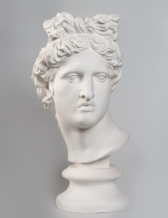 Tête de gypse d'Apollo Belvedere, copie photographie stock