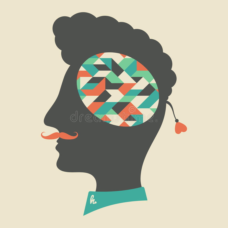 Tête de hippie avec des pensées au sujet des formes géométriques illustration de vecteur