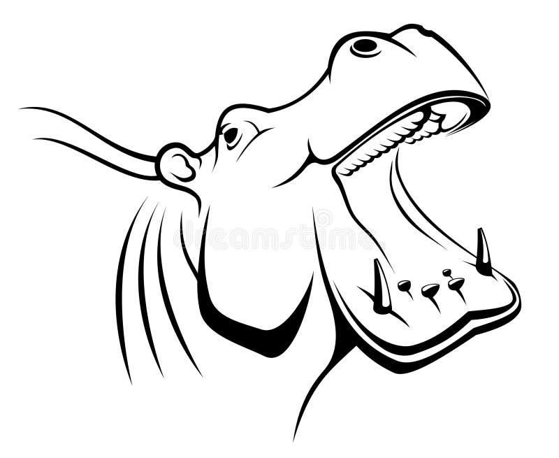 Tête de Hippopotamus illustration stock