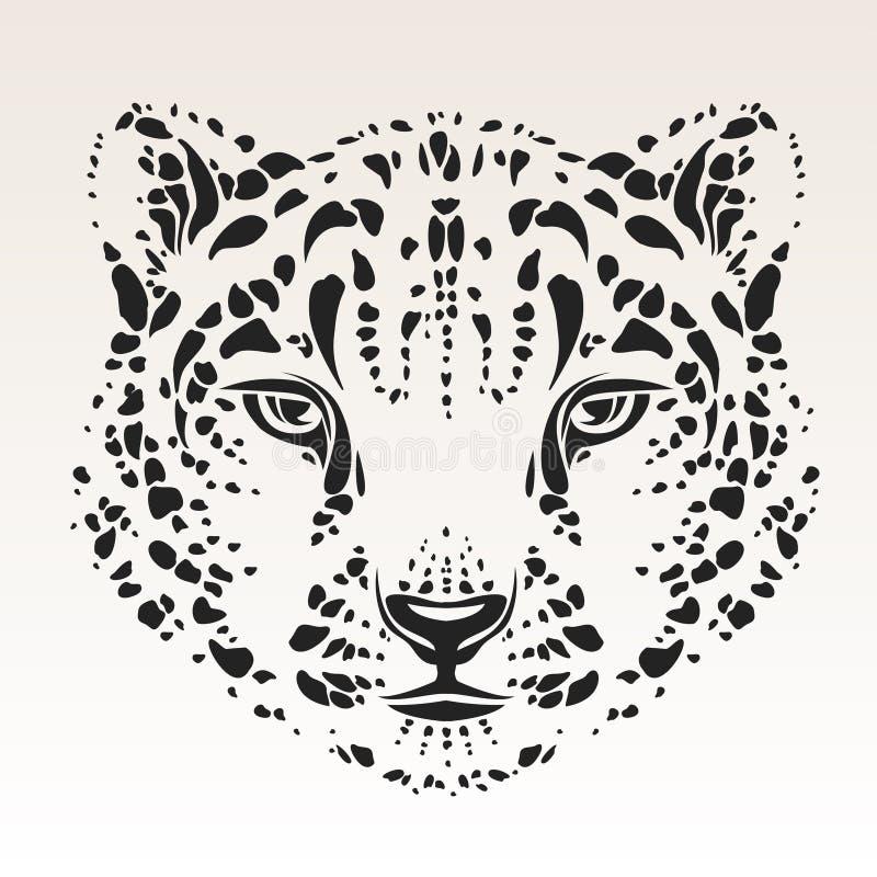 Tête de léopard de neige illustration de vecteur