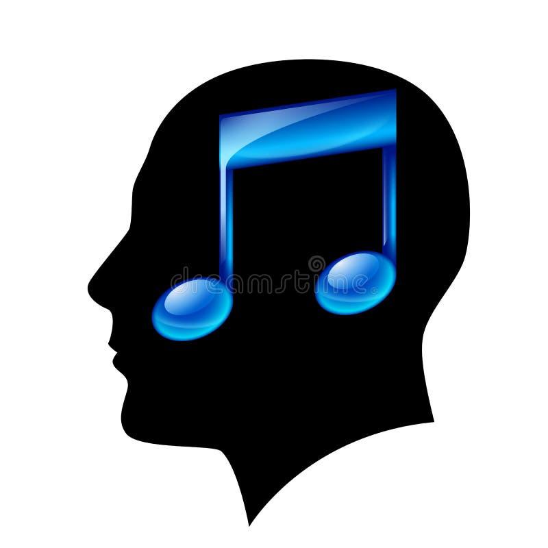 Tête de l'homme avec la note musicale illustration de vecteur