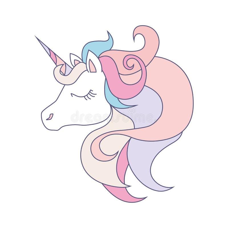 Tête de licorne sur le fond blanc Animal magique mignon d'imagination de bande dessinée Cheveux de klaxon d'arc-en-ciel, roses et photographie stock