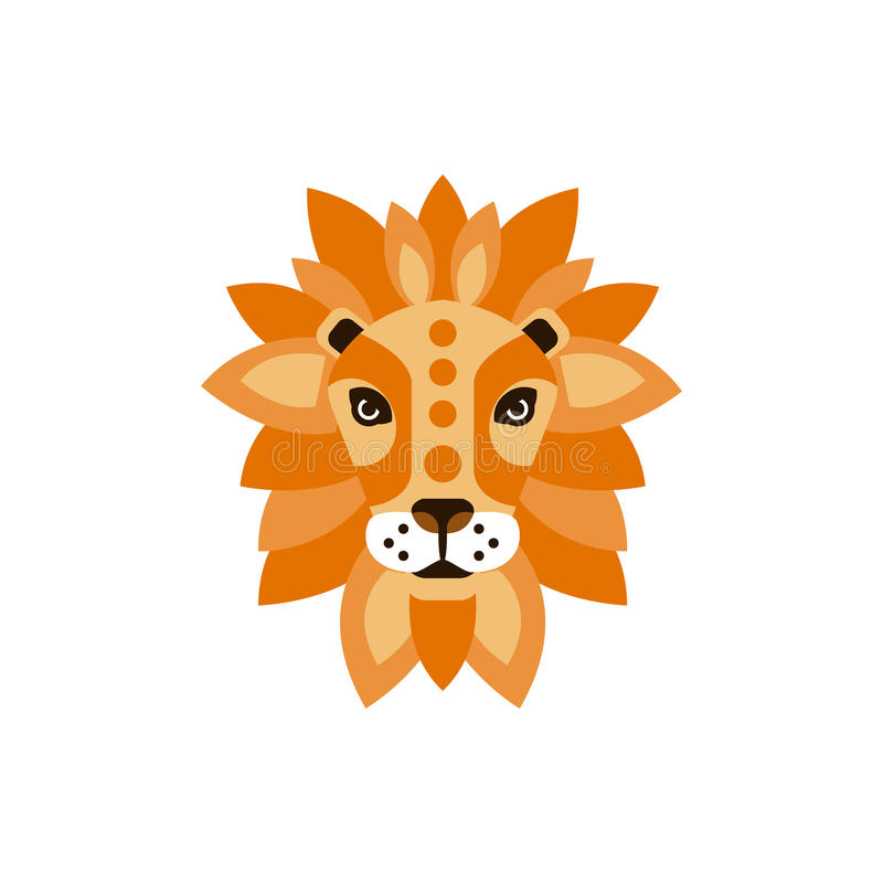 Tête de Lion African Animals Stylized Geometric illustration libre de droits