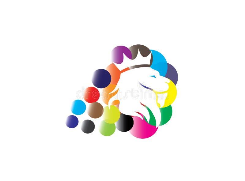 Tête de lion avec une couronne dans les bulles multicolores pour la conception de logo illustration libre de droits