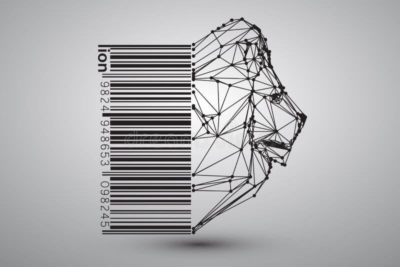 Tête de lion des triangles, des lignes et des points avec code barres illustration de vecteur