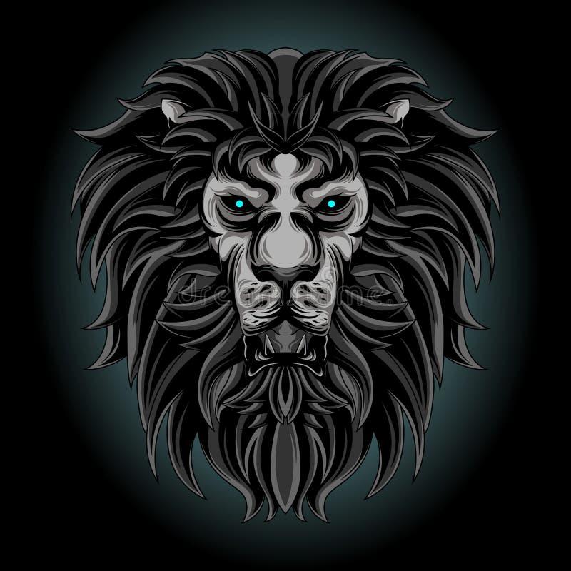 Tête de lion de l'espace foncé illustration libre de droits