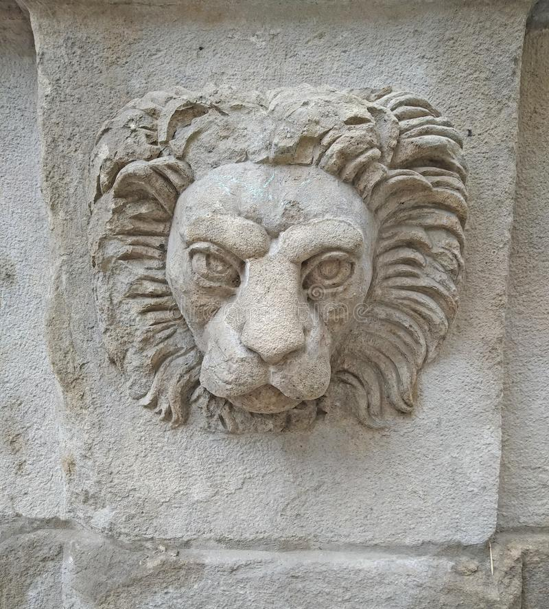 Tête de lion sur un mur de construction à Lviv photo libre de droits