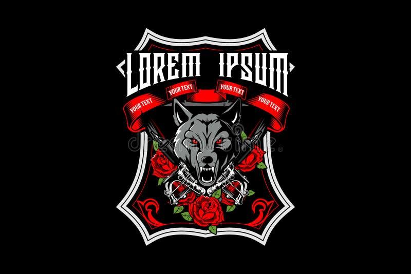 Tête de loup avec le vecteur de machine et de rose de tatouage illustration de vecteur