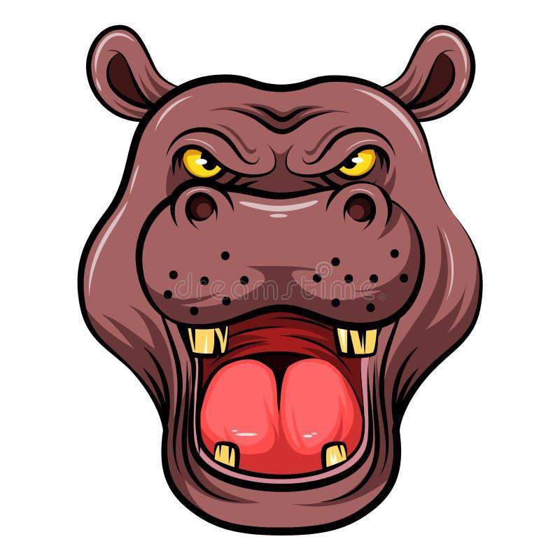 Tête de mascotte d'un hippopotame illustration libre de droits