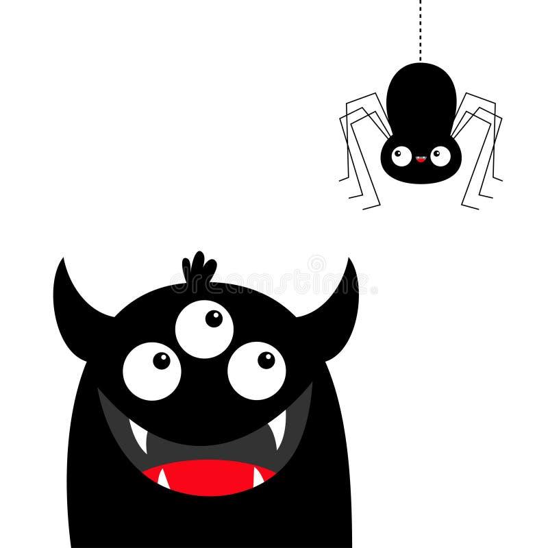 Tête de monstre regardant accrochante l'araignée noire Trois yeux, croc de dents, klaxons, mains  Caract?re dr?le de b?b? de band illustration stock