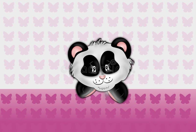 Tête de panda sur le fond rose de butteflies illustration stock