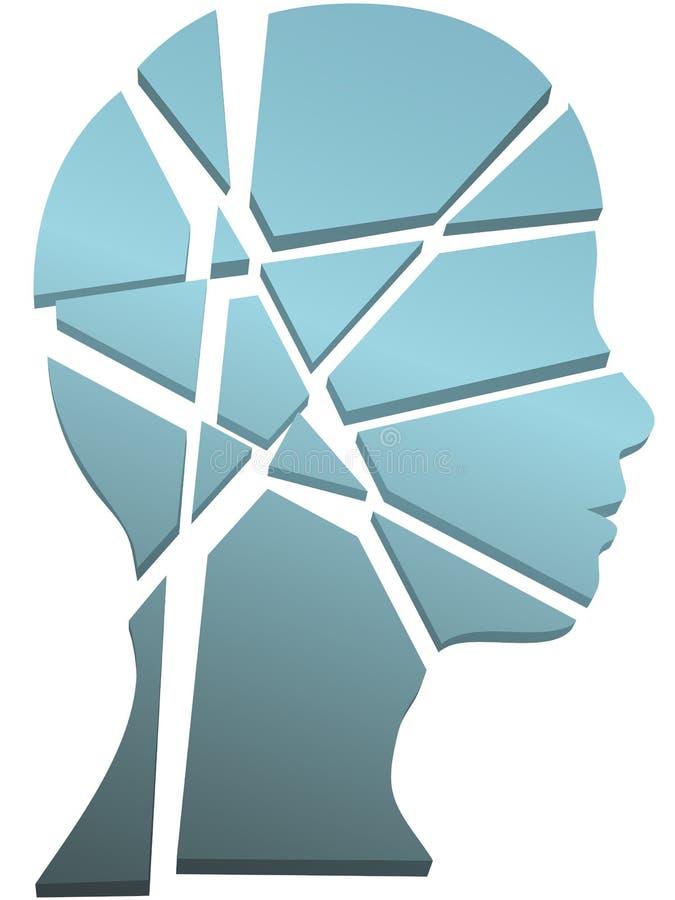Tête de personne de concept de santé mentale dans les parties illustration libre de droits