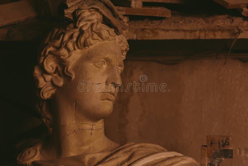 Tête de plâtre d'Apollo Belvedere images libres de droits