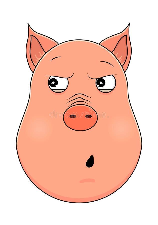 Tête de porc paranoïde dans le style de bande dessinée Animal de Kawaii illustration de vecteur