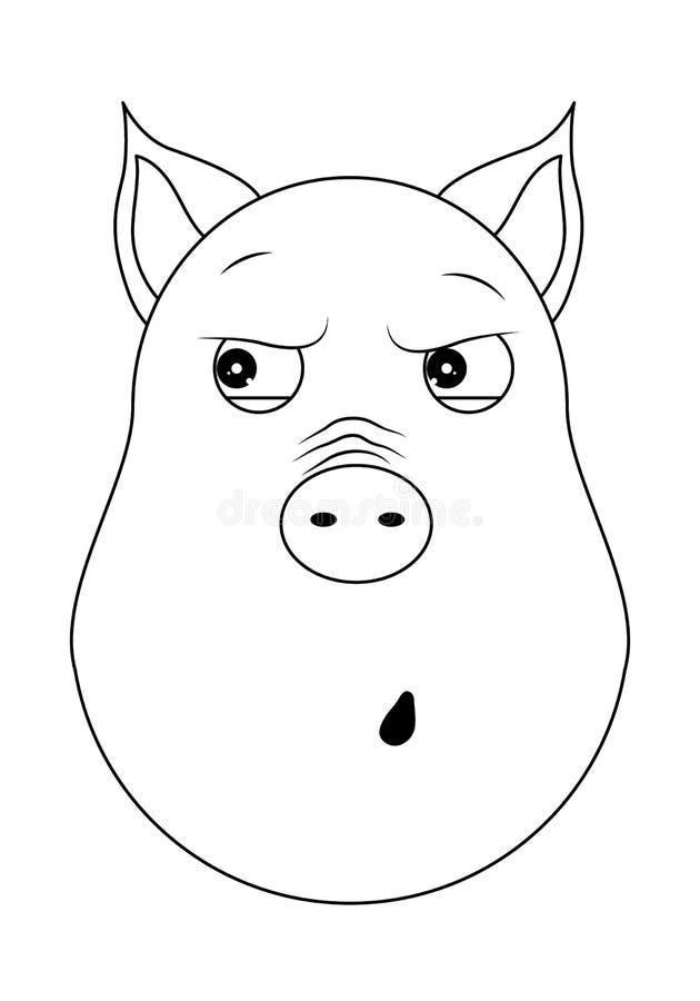Tête de porc paranoïde dans le style d'ensemble Animal de Kawaii illustration libre de droits