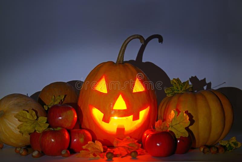 tête de potiron, nuts, pommes et feuilles de jaune sur un backgro sombre images stock
