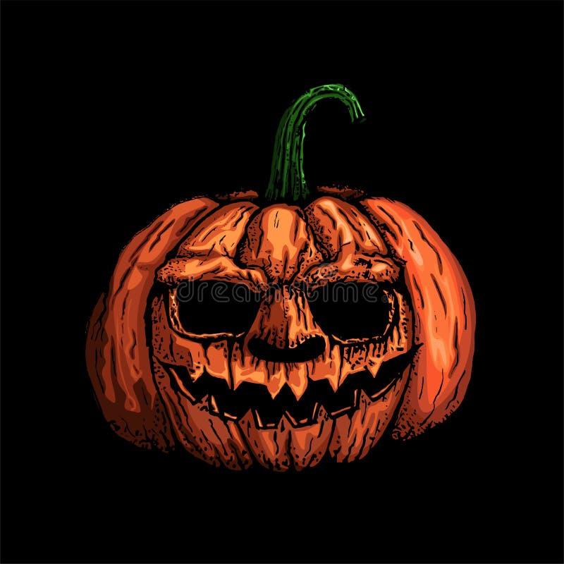 Tête de potiron, symbole de vacances de Halloween d'isolement sur le backgro noir illustration de vecteur