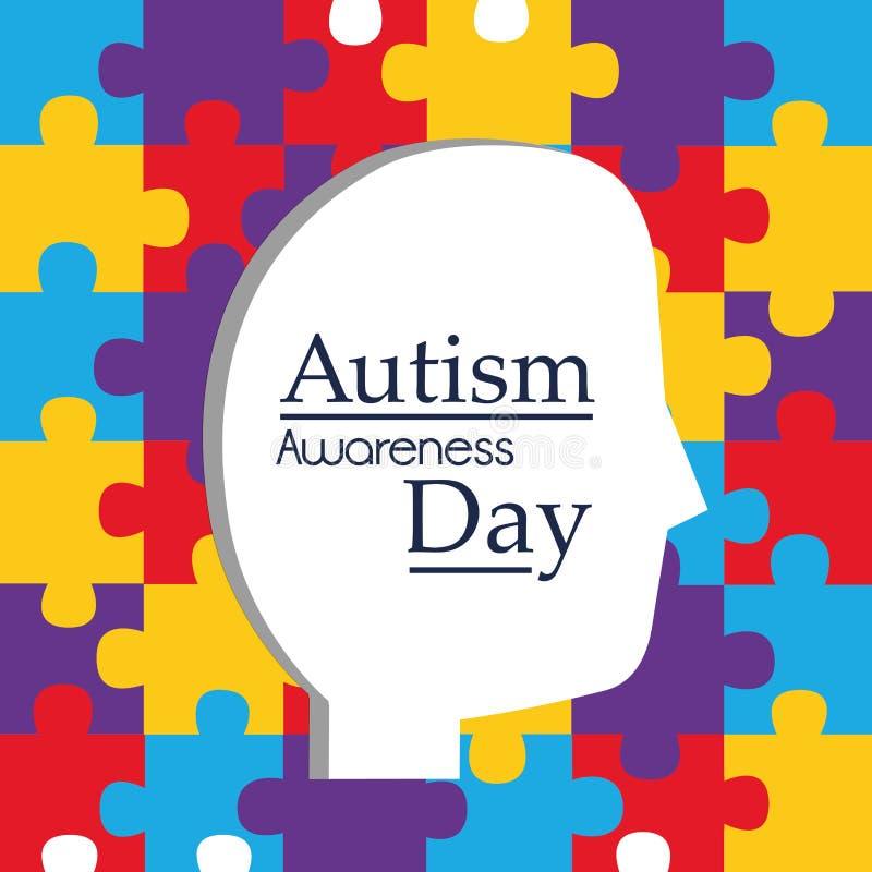 Tête de profil de jour de conscience d'autisme et fond de puzzles illustration de vecteur