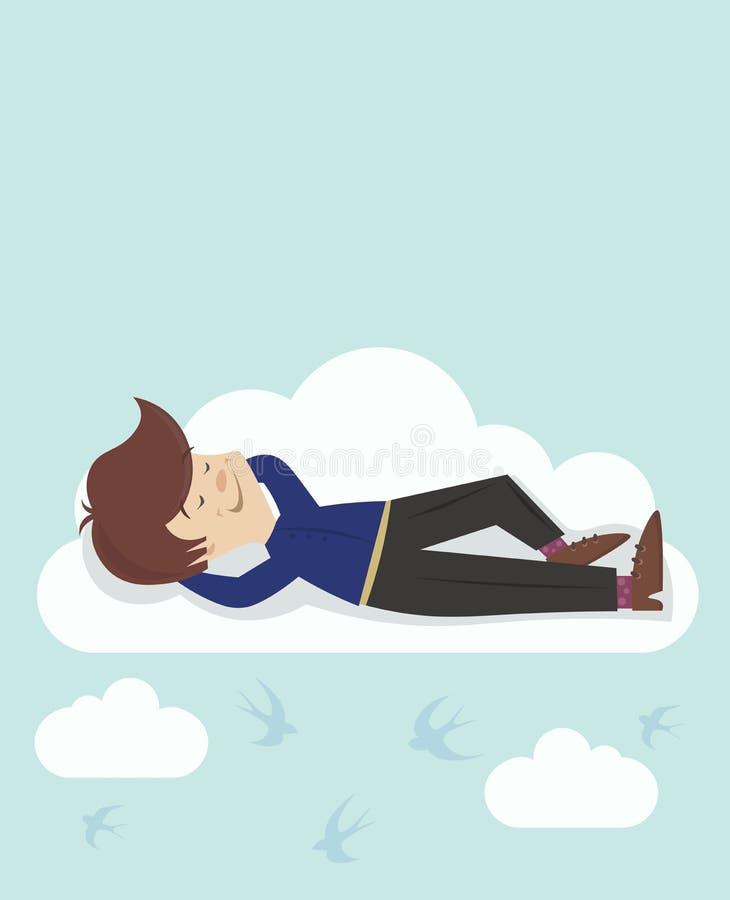 Tête de rêveur dans les nuages illustration stock
