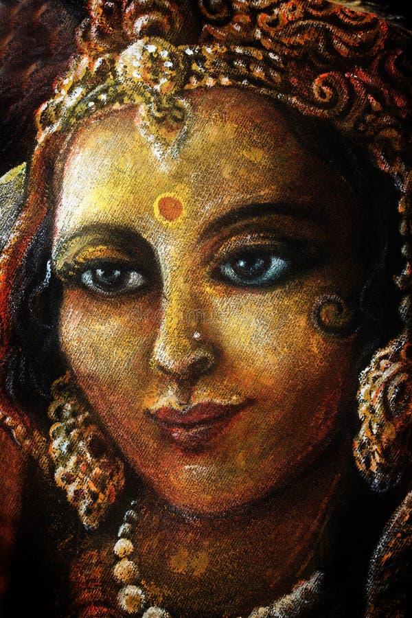 Tête de radha avec les bijoux d'or, illustration peinte à la main image stock