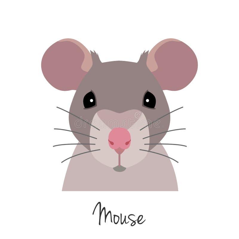 Tête de rat de vecteur Animal de symbole chinois de zodiaque Bande dessinée plate illustration libre de droits