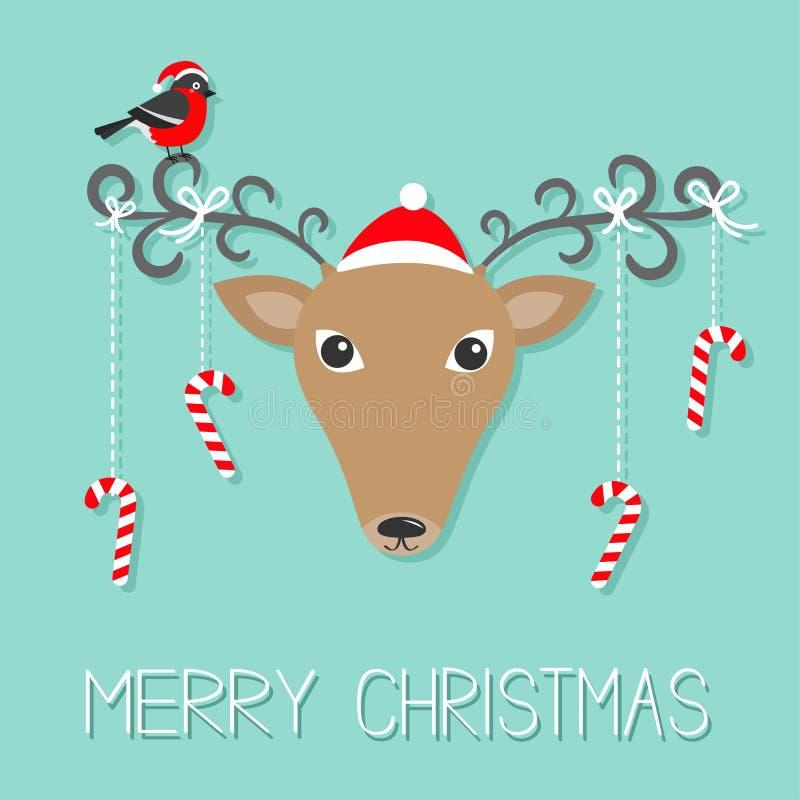 Tête de Reindeeer dans le chapeau de Santa Claus Joyeux Noël s'arrêter illustration libre de droits