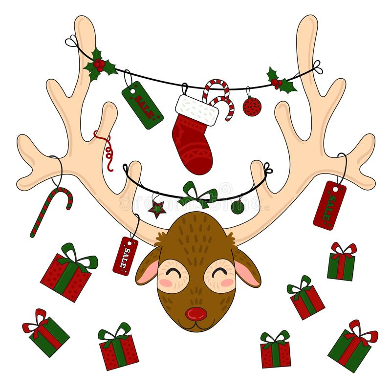 Tête de renne avec des boîte-cadeau et des labels de Noël illustration libre de droits