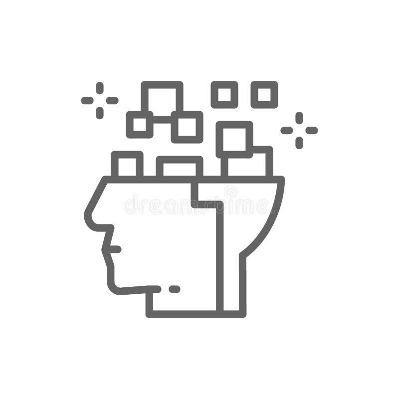 T?te de robot, cerveau reli? ? la carte, pens?e num?rique, ligne ic?ne d'intelligence artificielle illustration libre de droits