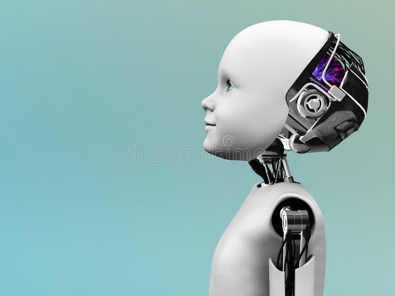 Tête de robot d'enfant dans le profil. illustration stock