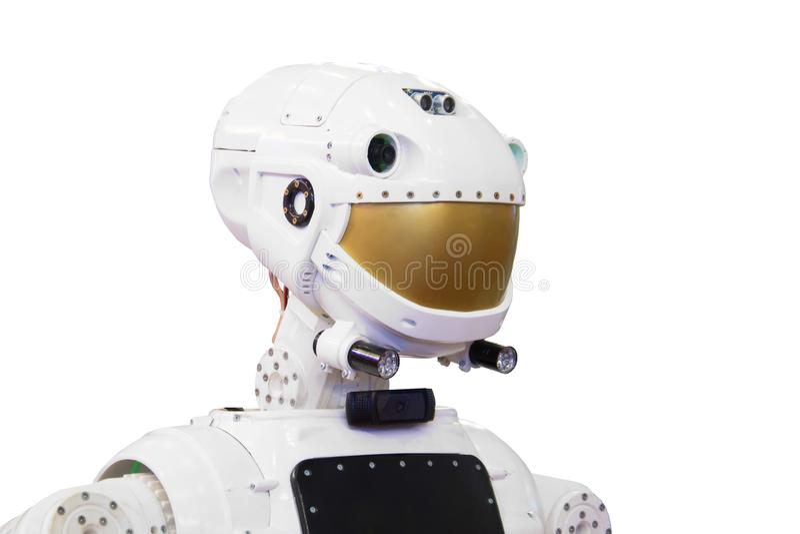 Tête de robot de technologie d'isolement sur le fond blanc images stock
