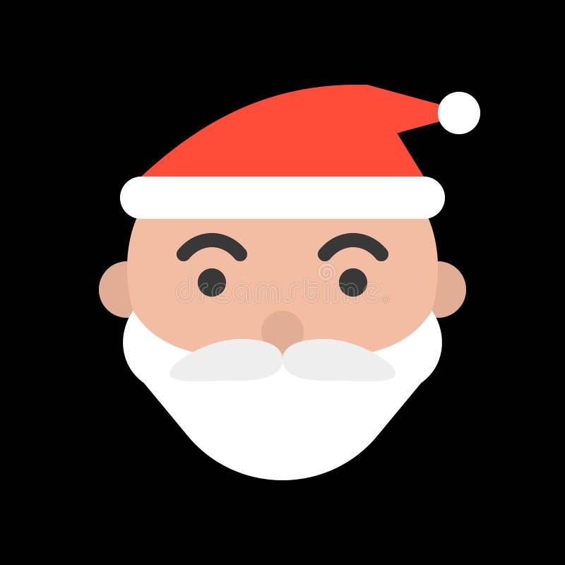 Tête de Santa Claus, ensemble rempli d'icône de Joyeux Noël illustration de vecteur