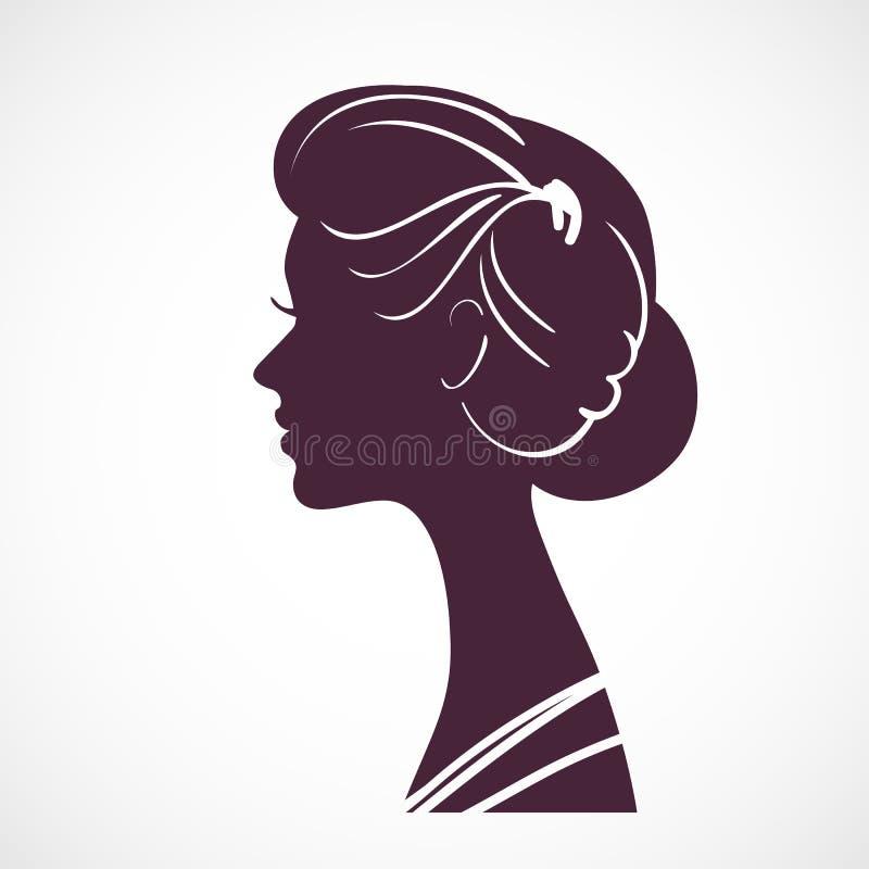 Tête de silhouette de femmes avec la belle coiffure stylisée illustration libre de droits