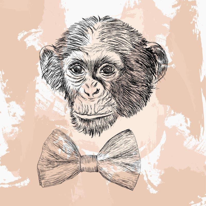 Tête de singe avec le noeud papillon, conception de tatouage dans le style de griffonnage illustration stock