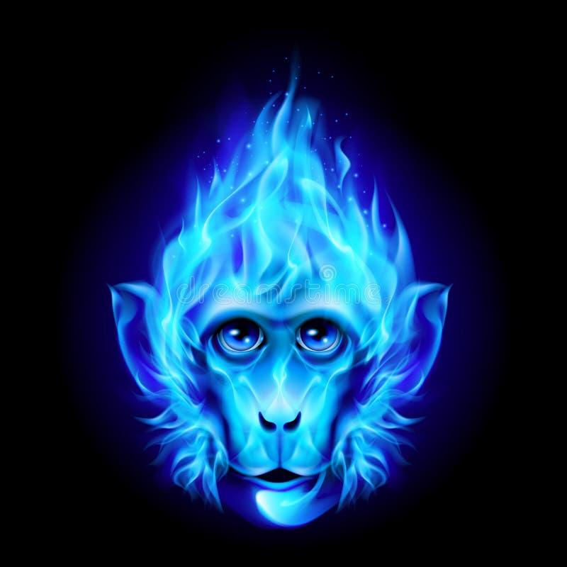 Tête de singe en feu illustration stock
