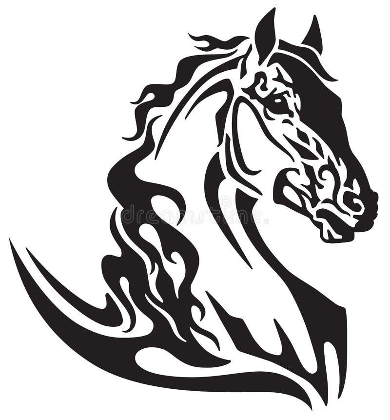 Tête de tatouage tribal de cheval illustration de vecteur